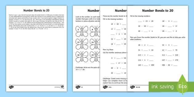 Bonding Basics Worksheet Along with Year 2 Maths Number Bonds to 20 Homework Worksheet Activity