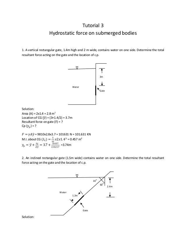 Calculating force Worksheet Answers and 3 Hydrostatic force Tutorial solution 1