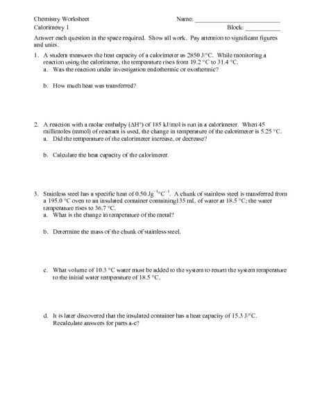 "Calculating Specific Heat Worksheet as Well as Fresh Calorimetry Worksheet Answers Lovely Q Ms Ž"" T 010 18 J 6 A"