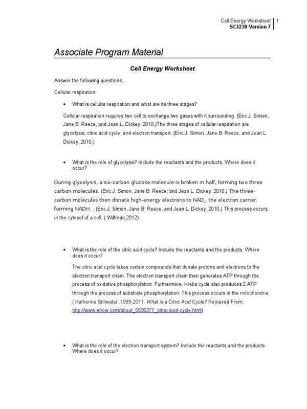 Cellular Respiration Breaking Down Energy Worksheet Answers with Cell Energy Worksheet Key Stay at Hand