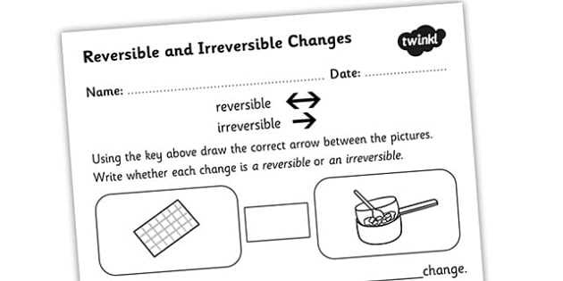 Changes Of State Worksheet Answers or Changing States Reversible Irreversible Changes Worksheet