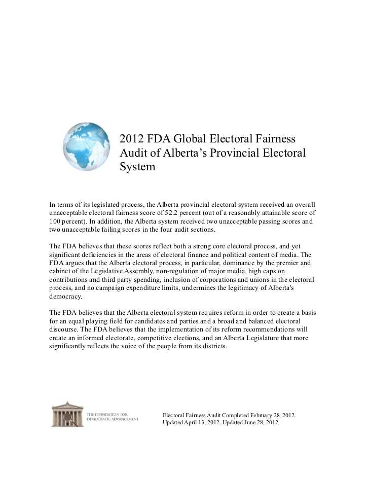 Chapter 7 the Electoral Process Worksheet Answers Along with Alberta 2012 Fda Global Electoral Fairness Audit Report
