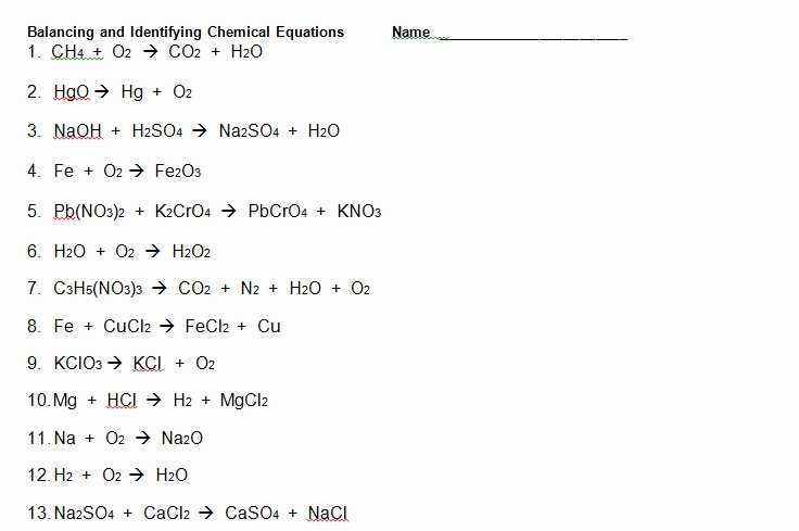 Chapter 7 Worksheet 1 Balancing Chemical Equations as Well as Phet Balancing Chemical Equations Answers Elegant Balancing