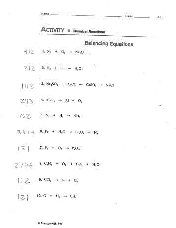 Chapter 7 Worksheet 1 Balancing Chemical Equations or Chapter 8 Balancing Equations Set 3