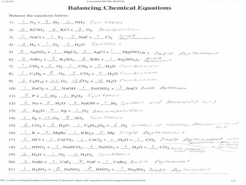 Chapter 7 Worksheet 1 Balancing Chemical Equations together with 12 Unique Balancing Chemical Equations Practice Worksheet with