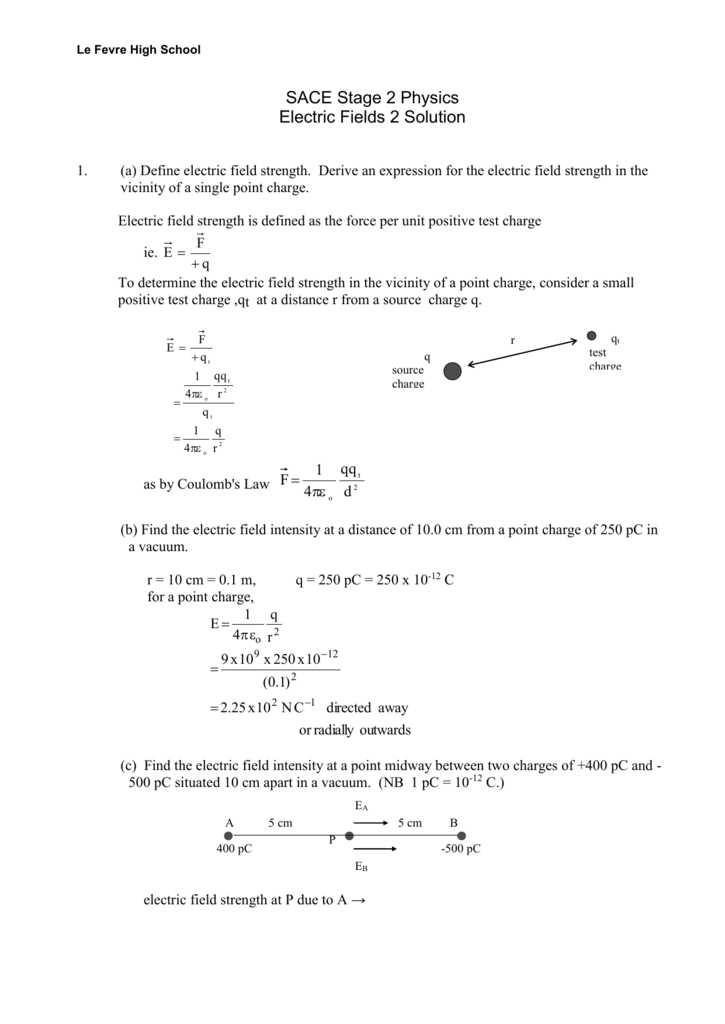 Charge and Electricity Worksheet Answers Along with Worksheet Electric Fields 2 solution
