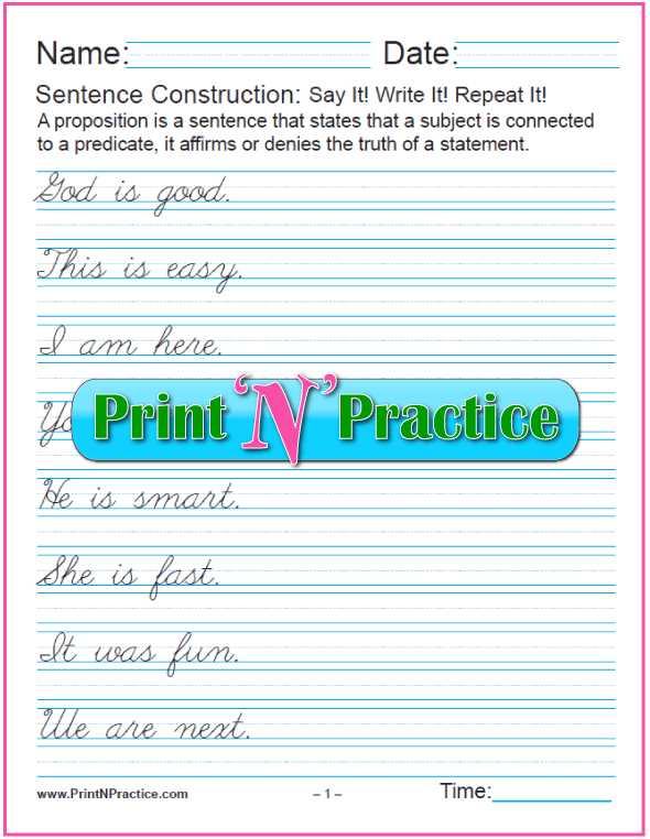 Check Writing Lessons Worksheets Also 20 Simple Cursive Sentences ⭐ Grammar Worksheets