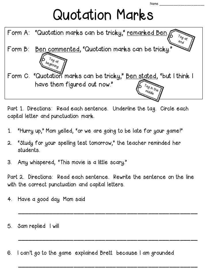 Check Writing Lessons Worksheets as Well as Quotation Marks Anchor Chart with Freebie
