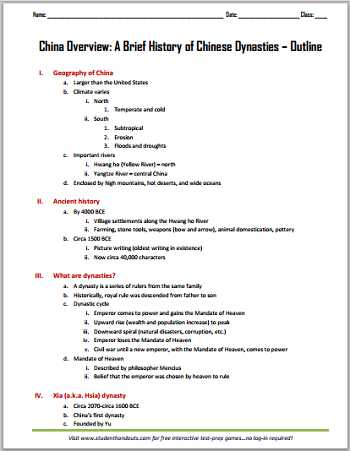 Chinese Dynasties Worksheet Pdf with China Overview A Brief History Of Chinese Dynasties Printable Outline