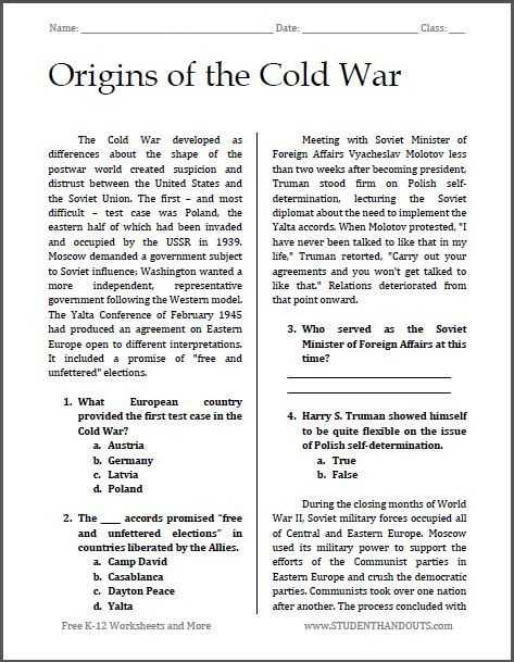 Cold War Vocabulary Worksheet Answers Also origins Of the Cold War
