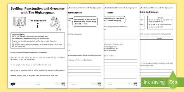 Commas Semicolons and Colons Worksheet as Well as Spelling Punctuation and Grammar with the Highwayman Worksheet