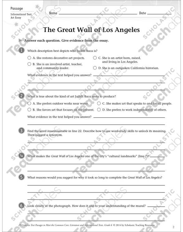 Community Living Skills Worksheets together with the Great Wall Of Los Angeles Text & Questions