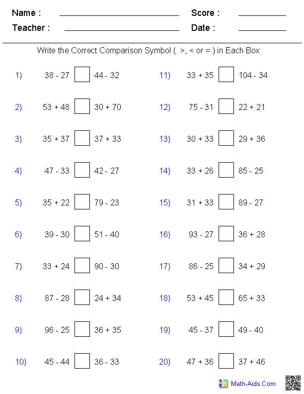 Comparing Decimals Worksheet and Greater Than Less Than Worksheets Math Aids