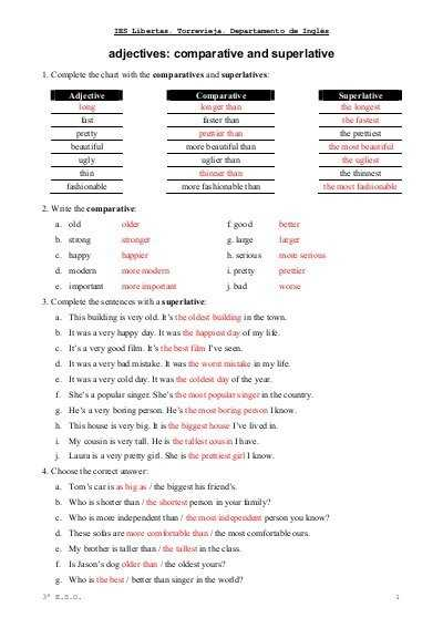 Comparison Of Adverbs Worksheet Along with Adjectives Parative and Superlative Exercises Libertas