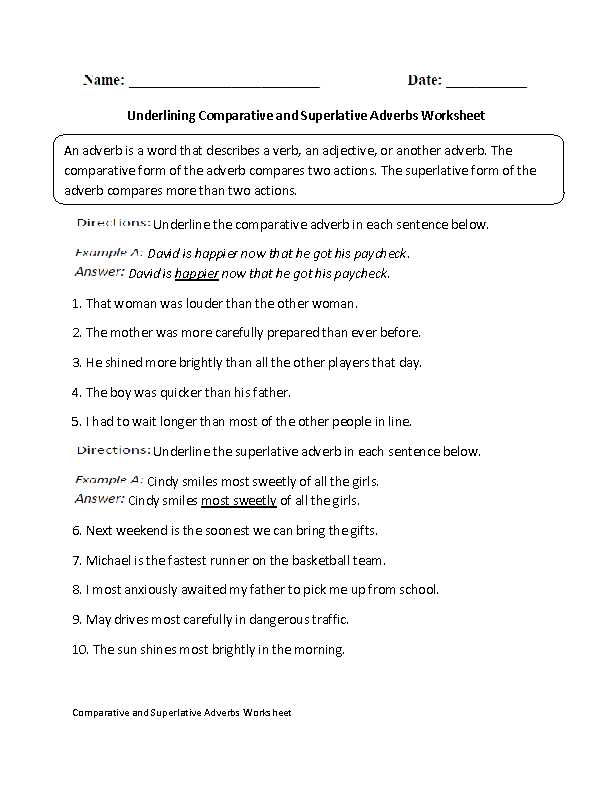 Comparison Of Adverbs Worksheet as Well as Underlining Parative and Superlative Adverbs Worksheet