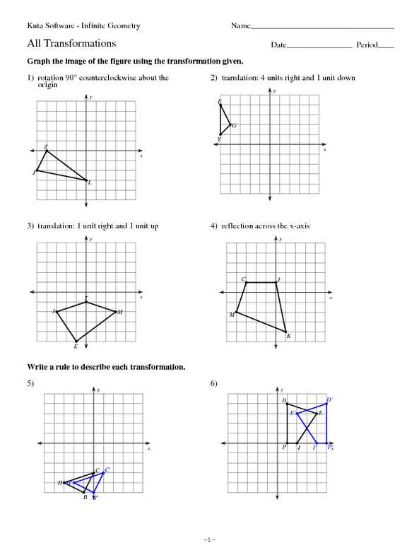 Compositions Of Transformations Worksheet Answers Along with Positions Transformations Worksheet Worksheets for All