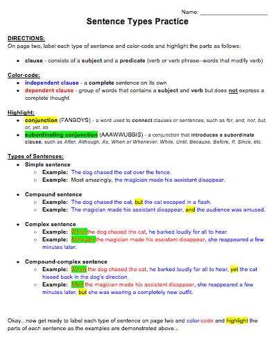 Compound and Complex Sentences Worksheet or Types Of Sentences Practice Key Simple Pound Plex