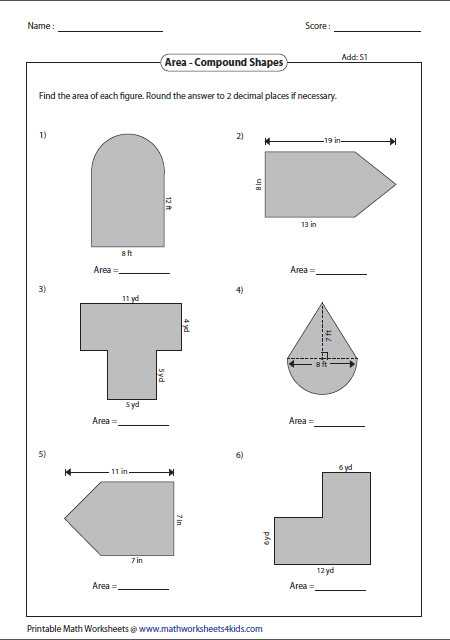 Compound Shapes Worksheet Answer Key as Well as area Shapes Worksheet