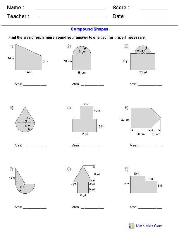 Compound Shapes Worksheet Answer Key or 314 Best area and Perimeter Images On Pinterest