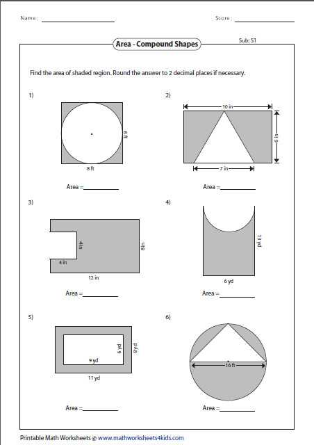 Compound Shapes Worksheet Answer Key with area Shapes Worksheet