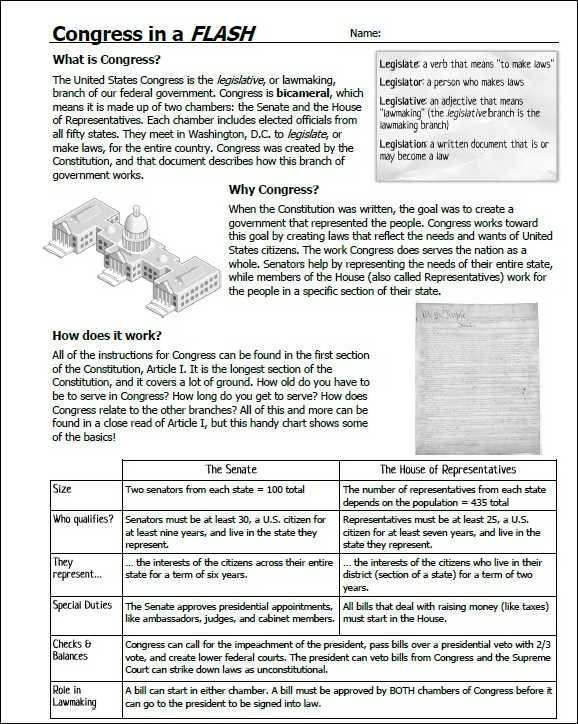 Congress In A Flash Worksheet Answers Key Icivics as Well as How A Bill Be Es A Law Worksheet Free Printable Worksheets