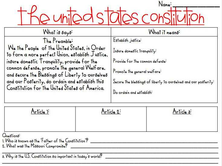 Constitution Worksheet Pdf and the Us Constitution Worksheet Answers Best 48 Best Constitution