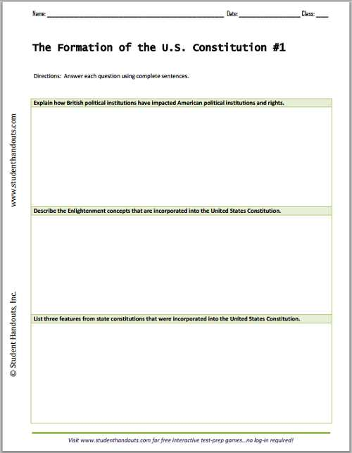 Constitution Worksheet Pdf together with formation Of the U S Constitution Essay Questions Worksheets Free