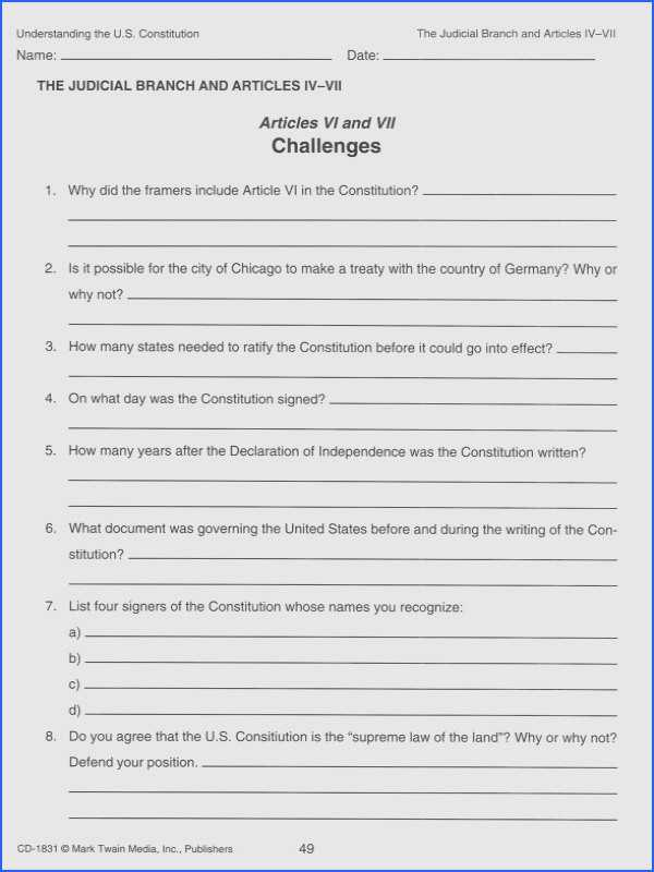 Constitution Worksheet Pdf with Constitution Worksheet
