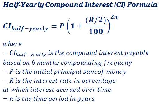 Continuous Compound Interest Worksheet with Answers or formula to Calculate Interest Payable On Half Yearly Pound