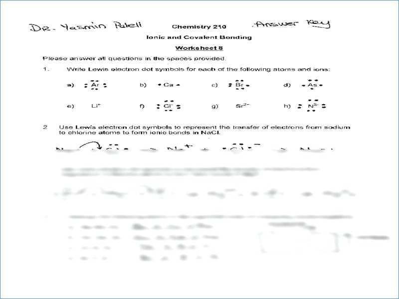 Covalent Bonding Worksheet Along with Chemical Bonding Practice Worksheet Answers