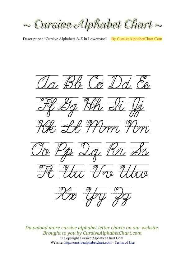 Cursive Alphabet Worksheets Pdf Along with Uppercase & Lowercase Cursive Alphabet Charts with Arrows In Pdf