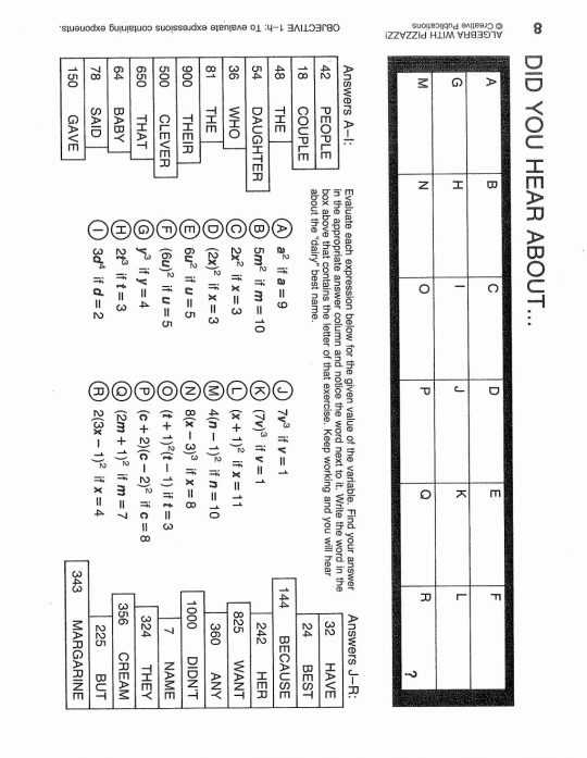 Did You Hear About Worksheet Answers Page 150 together with Movingords Pizzazz Pre Algebraithorksheets Answers for All