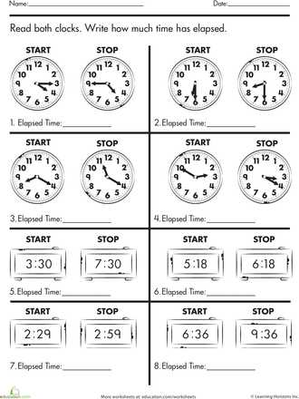 Digital Clock Worksheets Along with Calculate Elapsed Time