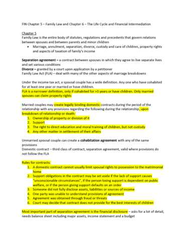 Divorce Annulment Worksheet Along with Fin 502 Chapter 5 and 6 Fin Chapter 5 & 6 Eclass