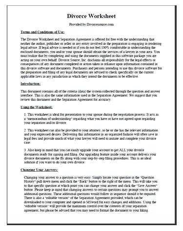 Divorce Annulment Worksheet together with 54 New Sample Marital Settlement Agreement