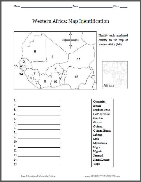 Early African Civilizations Worksheet Answers with Western Africa Map Identification Worksheet Free to Print Pdf