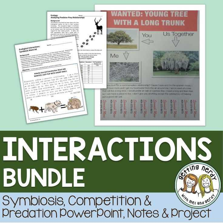 Ecological Relationships Worksheet with Symbiosis Petition and Predation