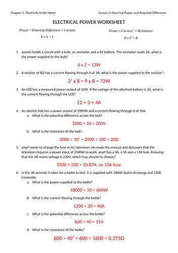 Electrical Power Worksheet Answers as Well as Mr Ansell S Resources Shop Teaching Resources Tes