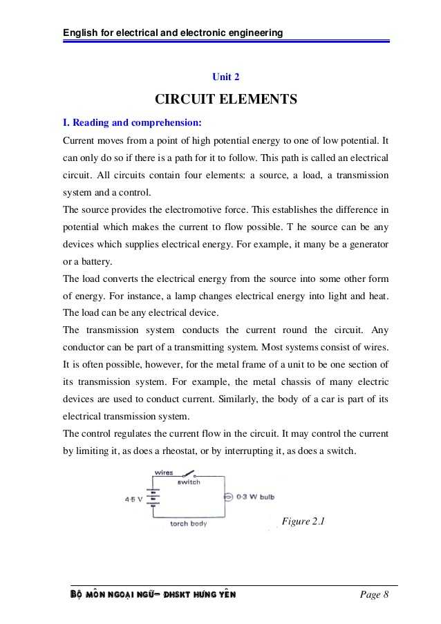 Electrical Power Worksheet Answers or English for Electric and Electronic Engineering