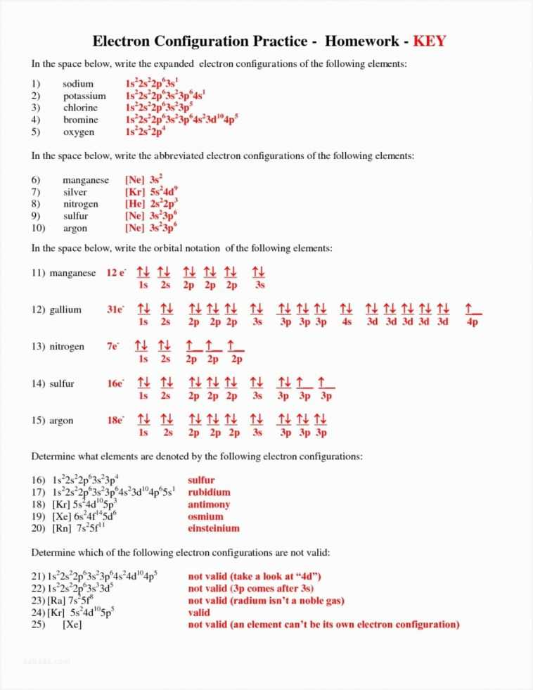 Electron Configuration Chem Worksheet 5 6 Answers Also Cheap Electron Configuration Worksheet – Sabaax
