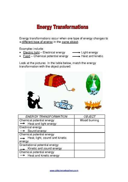 Energy and Energy Transformations Worksheet Answer Key and Energy Worksheet 7th Grade Kidz Activities