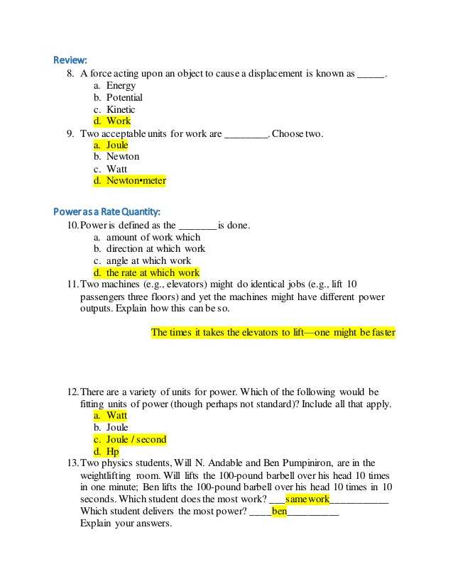 Energy Skate Park Worksheet Answers as Well as Energy Work and Power Worksheet Gallery Worksheet Math for Kids