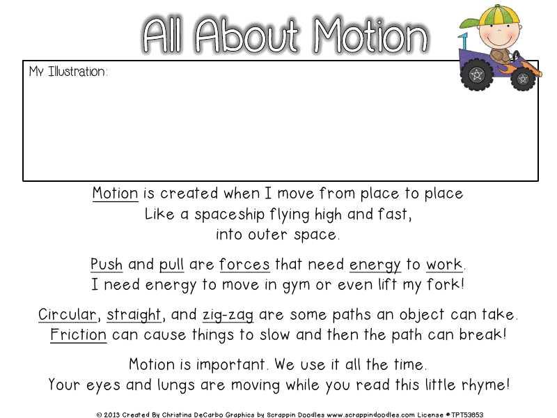 Energy Vocabulary Worksheet Along with forceandmotionfreebiepoem Pdf Science Pinterest