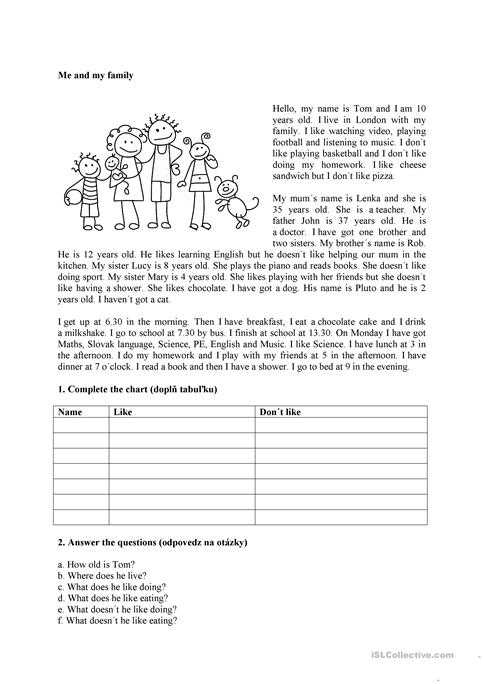 Esl Reading Comprehension Worksheets and Me and My Family Worksheet Free Esl Printable Worksheets Made by
