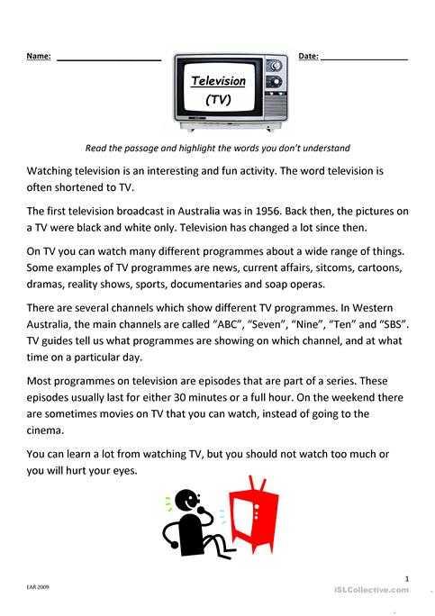 Esl Reading Comprehension Worksheets or Television Reading and Prehension Worksheet Free Esl Printable