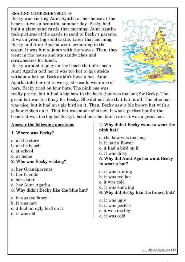 Esl Reading Comprehension Worksheets with Reading Prehension for Beginner and Elementary Students 3