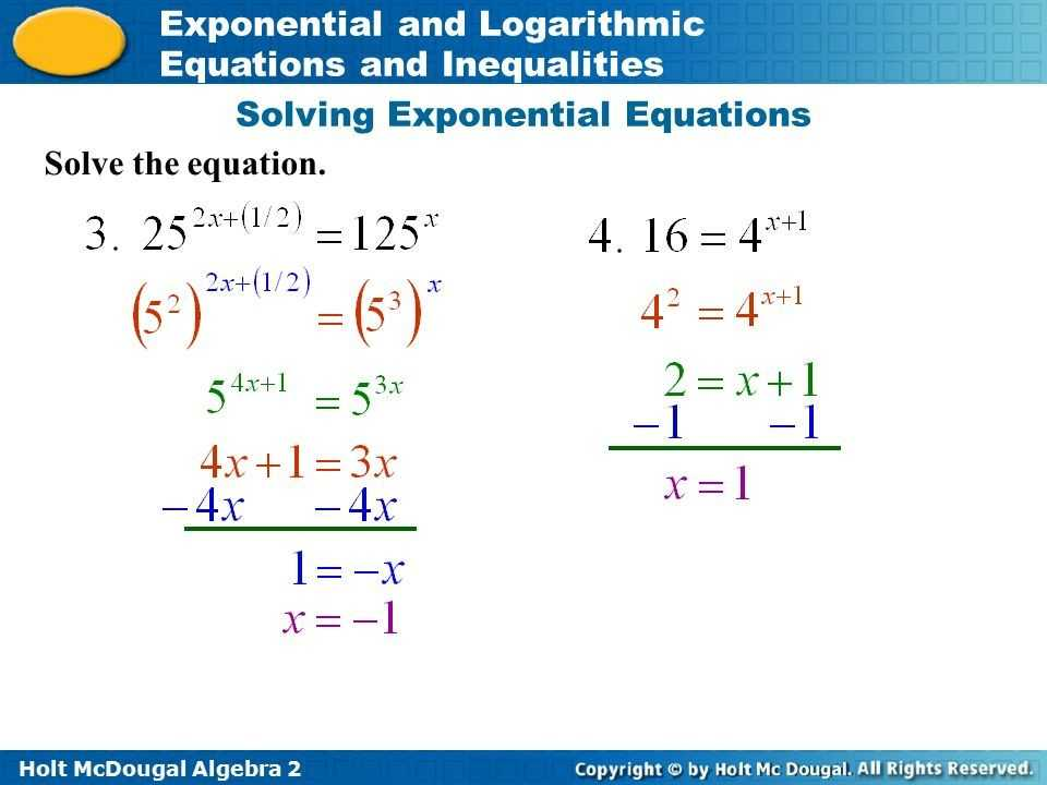 Exponential Equations Worksheet or solving Exponential Equations without Logarithms Worksheet