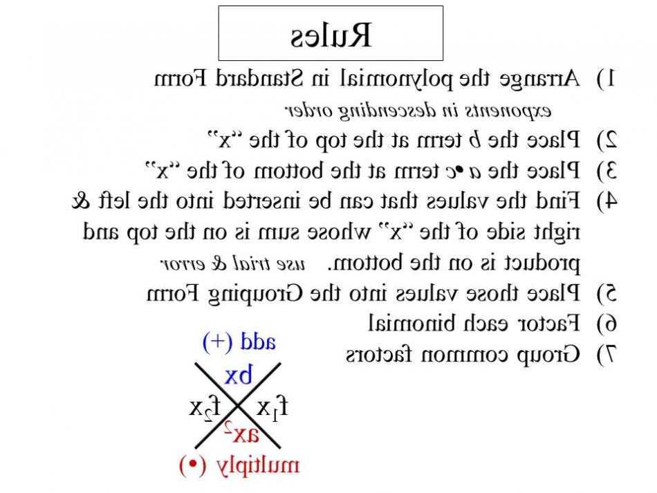 Factoring Quadratics Worksheet or 1 Arrange the Polynomial In Standard form Exponents In Descending