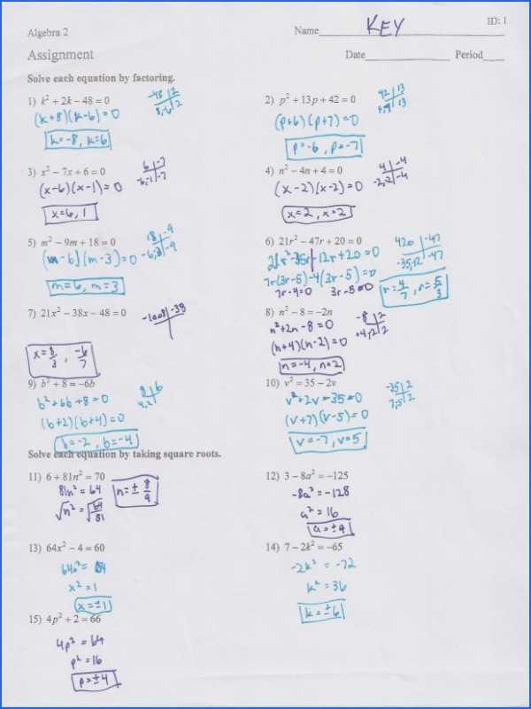 Factoring Review Worksheet Also solving Quadratics by Factoring Worksheet