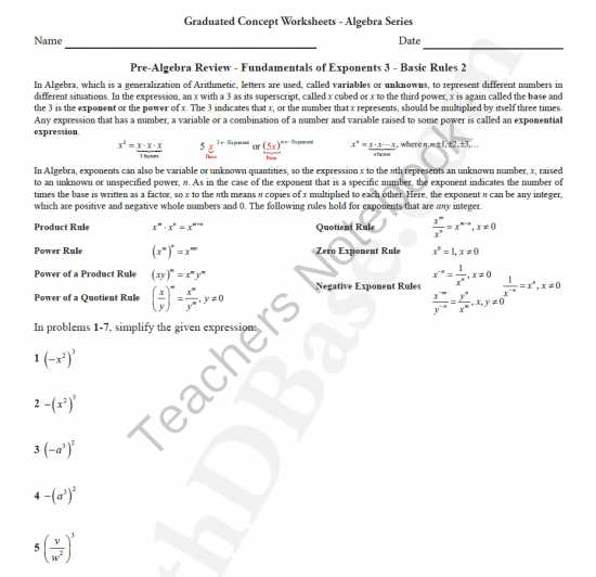 Factoring Special Cases Worksheet or Basic Algebra Worksheet 8 Pre Alg Rev Funds Of Exponents 3